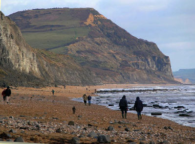 View of Golden Cap from Charmouth Beach